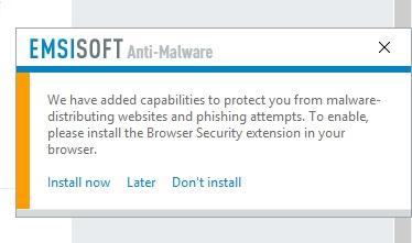 نوتیفیکیشن امسی سافت برای نصب افزونه امنیتی مرورگر