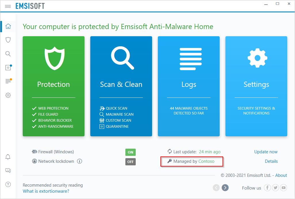 رابط کاربری آنتی ویروس امسی سافت