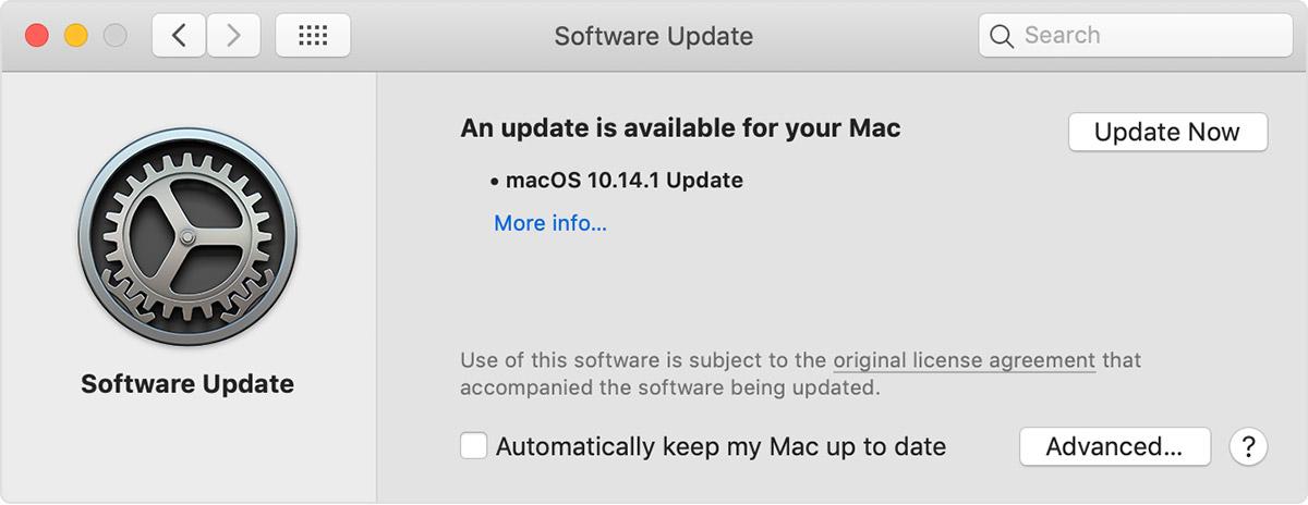 پنجره بروزرسانی سیستم عامل مَک (Mac)