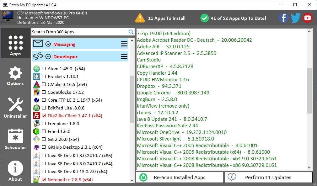 پنجره ابزار بروزرسانی Patch My PC
